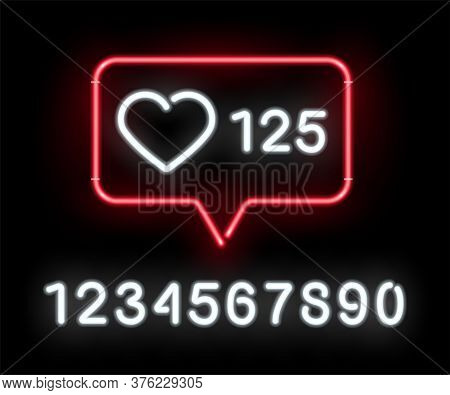 Social Network Activity Indicators Neon Icon. Likes Quantity Significative. Notification With Heart