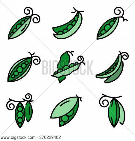 Peas Icons Set. Outline Set Of Peas Vector Icons Thin Line Color Flat On White