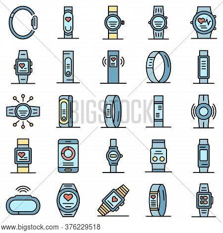 Fitness Bracelet Icons Set. Outline Set Of Fitness Bracelet Vector Icons Thin Line Color Flat On Whi