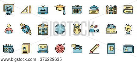 Tutor Icons Set. Outline Set Of Tutor Vector Icons Thin Line Color Flat On White