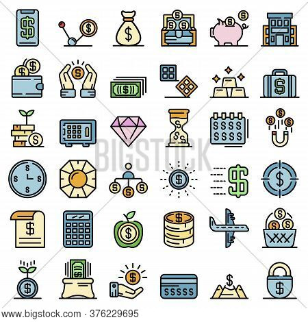 Millionaire Icons Set. Outline Set Of Millionaire Vector Icons Thin Line Color Flat On White