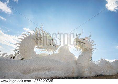 The Scenery Of The White Dragon Statue In A Beautiful Blue Sky Background At Wat Huay Pla Kang Templ
