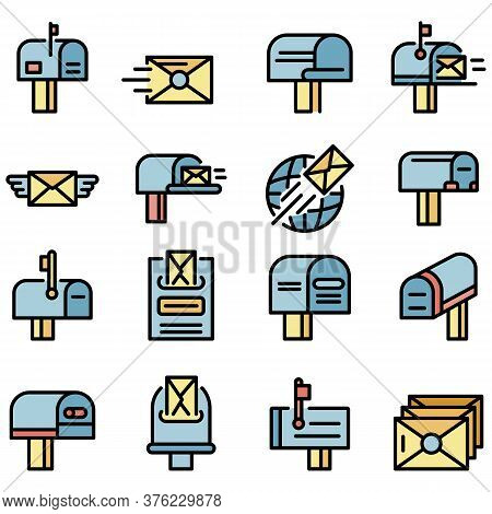 Mailbox Icons Set. Outline Set Of Mailbox Vector Icons Thin Line Color Flat On White