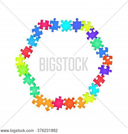 Game Enigma Jigsaw Puzzle Rainbow Colors Pieces Vector Background. Group Of Puzzle Pieces Isolated O