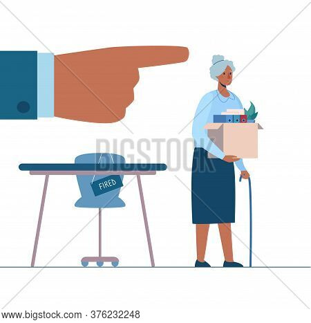 Retirement. Fired African Person Leaves The Office With A Box In His Hands. Black Woman Without Work