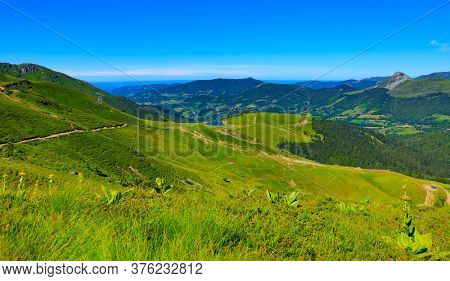 view of beautiful france mountain landscape- hiking trail, plomb du Cantal-Auvergne
