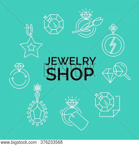 Jewelry Icons, Jewelry Theme, Jewelry Store, Infographics. Vector Line Illustration