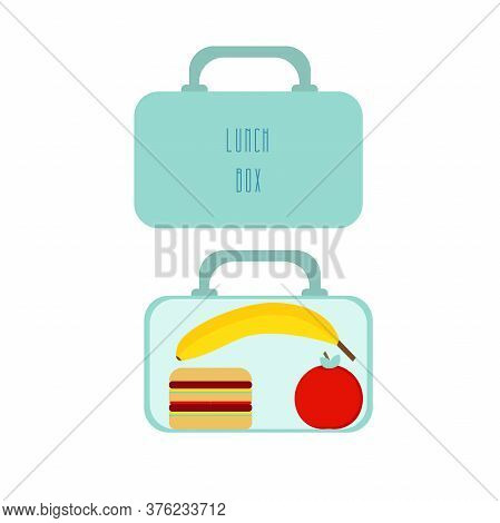 Lunchbox With School Lunch Apple, Sandwich And Banana. Vector Illustration On White Background.
