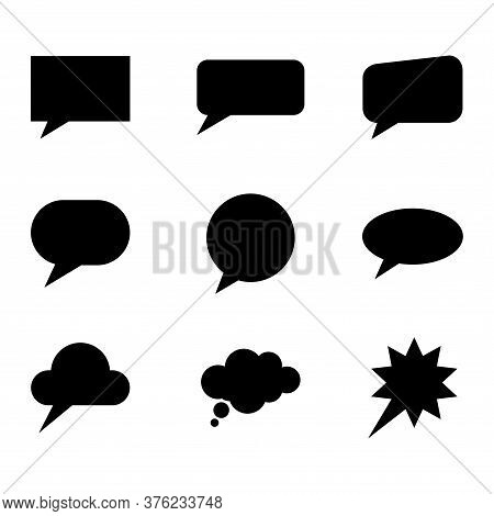 Speech Bubble Set Icon Isolated On White Background. Web Sign Kit Of Comic Tell. Communication Chat