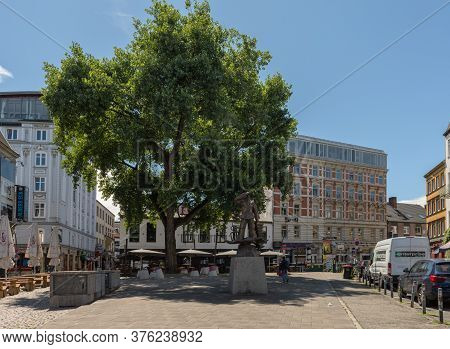 Hans Albers Platz With Monument In St. Pauli, Hamburg, Germany