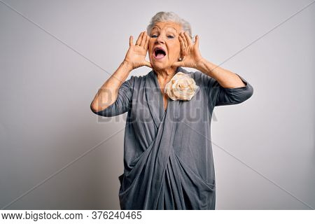 Senior beautiful grey-haired woman wearing casual dress standing over white background Smiling cheerful playing peek a boo with hands showing face. Surprised and exited