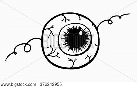 Witch Creepy Magic Eye For Postcard Logo Icons. Eyeball For Mystical Rites For Halloween. Magic Poti