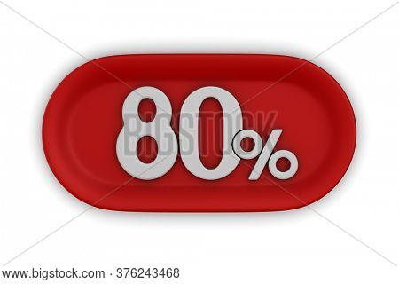 Button with eighty percent on white background. Isolated 3D illustration