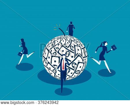 People Running Away From Debt. Business Finance And Economy Concept
