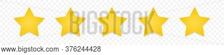 5 Gold Stars Quality Rating Icon. Five Yellow Star Product Quality Rating. Golden Star Vector Icons.