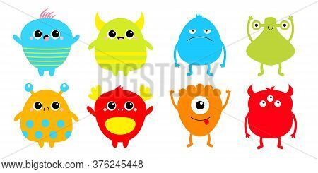 Happy Halloween. Monster Set. Cute Cartoon Kawaii Sad Character Icon. Eyes Horns, Hands Up, Tongue.