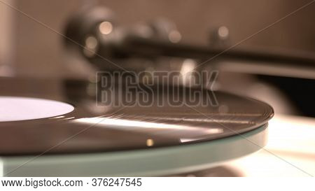 Vintage Record Is Playing By The Gramophone. Classic Music In Vinyl Record.