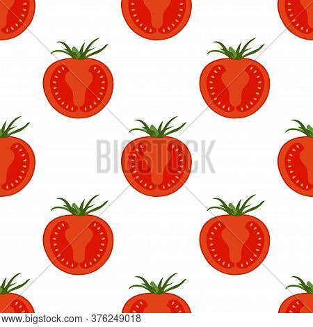 Seamless Background From Chopped Ripe Tomatoes Isolated On White, Fresh Tomato Slices Pattern