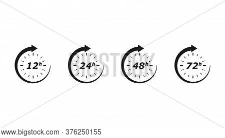 Work Hours With Round Arrow. 12, 24. 48 And 72 Hrs. Clock Time With Service Worktime. Isolated Set O