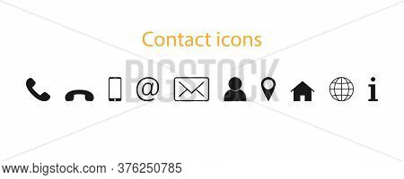 Contact Icons Set. Phone With Mail Sign. Message And Globe Icons. At Sign With Person Silhouette. Ho