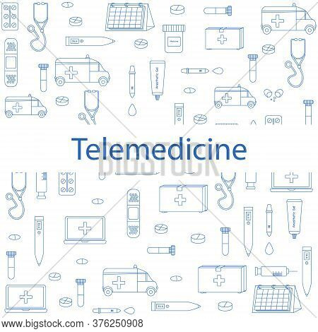 Vector Pattern With Repeated Elements For Telemedicine Website Background. White Background With Blu