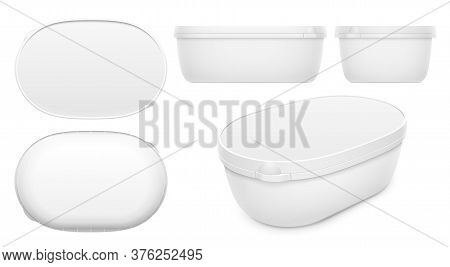 Vector Oval Container For Ice Cream, Butter Or Margarine Spread. Top, Bottom, Front, Side And Perspe