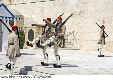 Athens, Greece, June 04, 2016. Evzoneses (presidential Guards) Are Watching Over The Monument To The