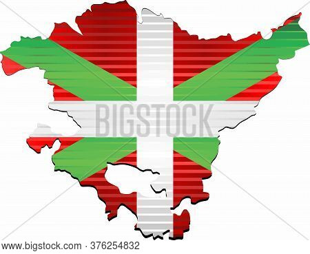 Shiny Grunge Map Of The Basque - Illustration,  Three Dimensional Map Of Basque