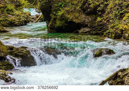 Picturesque bubbling waterfalls and rapids on a mountain river Radovna. Slovenia. Vintgar gorge. On the walls of the gorge laid wooden walkways. The concept of active and photo tourism