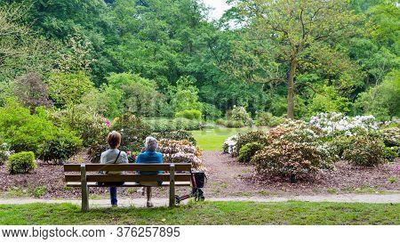 Wageningen, Netherlands - April 30, 2016: Two Eldery Woman Enjoying The View In Arboretum Belmonte I