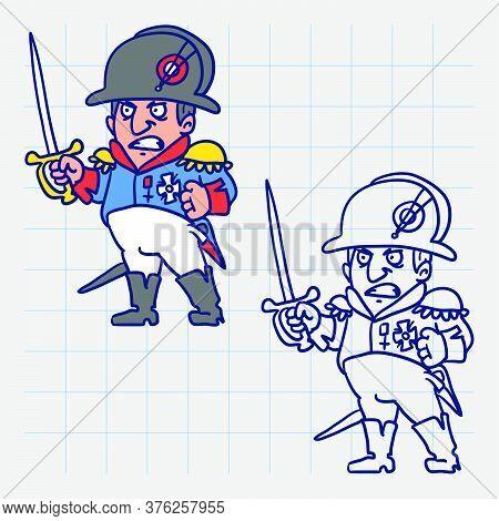 Napoleon Bonaparte Angry Holds Sword. Hand Drawn Character