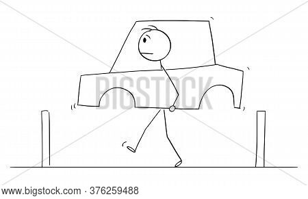 Cartoon Stick Figure Drawing Conceptual Illustration Of Man Walking On The Road And Carrying The Car