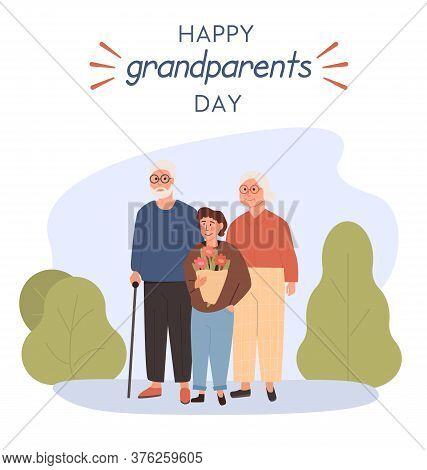 Grandfather, Grandmother Standing With Grandchild. Embracing Granddad, Grandma And Grandson Holding
