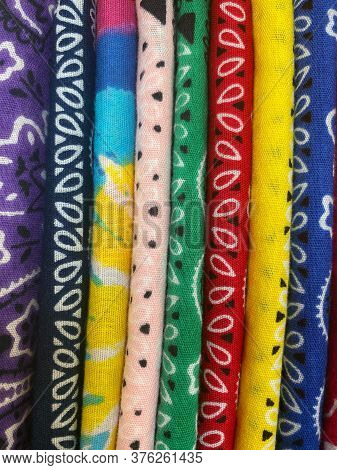 Stack Of Bright Colored Bandanas