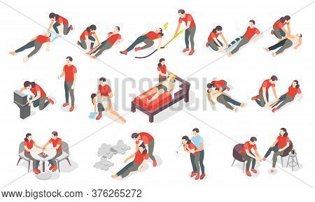First Aid Steps Isometric Set Of Icons And Human Characters Providing First Aid Treatment To Persons