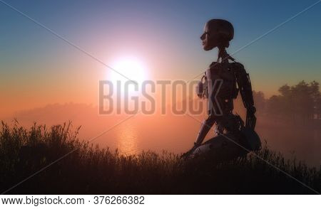 Robot woman on a colorful sunset background.,3d render