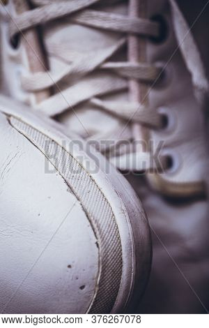 Closeup Lacing Background Texture For Design. Top View Image Of White Sneakers. Lacing On White Leat