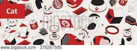 Cat Pattern Isometric Composition With Icons Of Cartoon Style Cats Cradles Pet Bowls And Scratcher P
