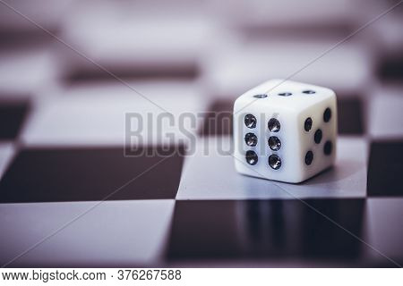 Dice On Table, Vintage Effect. Background For Casino Games, Gambling, Luck Or Randomness. Rolling Th