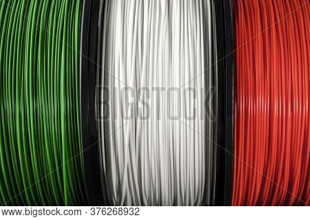 Italy Flag Of The Coils For 3d Printer. Filament For 3d Printing, Bright Thermoplastic Of Green, Whi