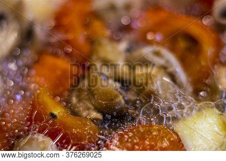 Vegetable Ragout. Cooking Stewed Vegetables With Mushrooms. Boiling Vegetables With Mushrooms. Top V