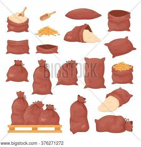 Sacks With Wheat Grains Or Flour, Burlap Bags On Wood Pallet Isolated On White Background. Empty And
