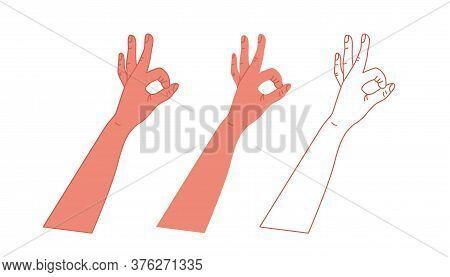 Okay Hand Symbol. Vector Illustration Isolated On White Background.