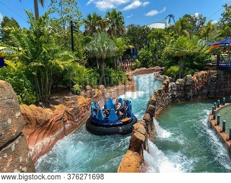 Orlando, Fl/usa-7/12/20: The Infinity Falls Water Ride At Seaworld In Orlando, Florida.