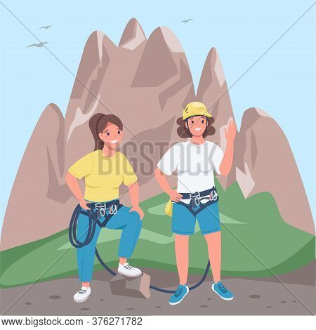 Women Mountaineers Flat Color Vector Illustration. Two Girls With Climbing Equipment. Cheerful Femal