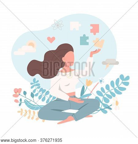 Psychologically Healthy Female Flat Color Vector Faceless Character. Emotional Wellbeing. Peace Of M