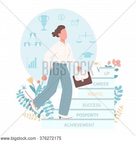 Career Woman Flat Color Vector Faceless Character. Female Equal Rights For Job Position. Gender Equa