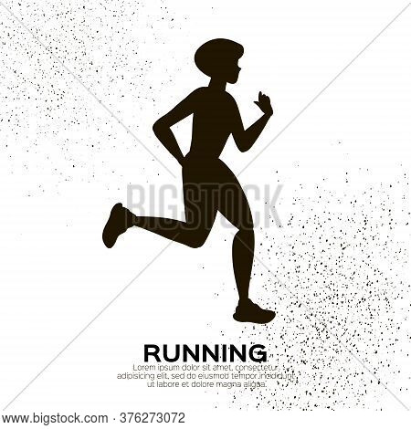 Young Lady Running. Happy Fitness Woman. Woman Runner In Black Silhouette On White Background. Joggi