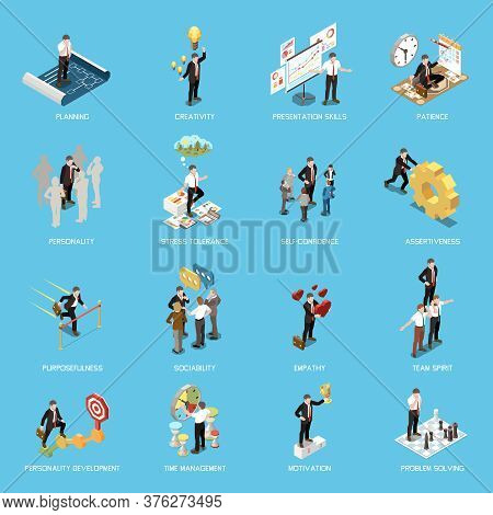 Soft Skills Isometric Concept Icon Set With Planning Creativity Presentation Skills Patience Persona
