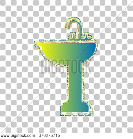 Bathroom Sink Sign. Blue To Green Gradient Icon With Four Roughen Contours On Stylish Transparent Ba
